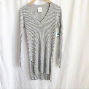 Mix light grey long ribbed knit tunic